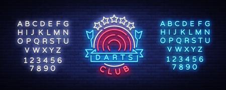 Darts Club Logo in Neon Style Vector illustration.