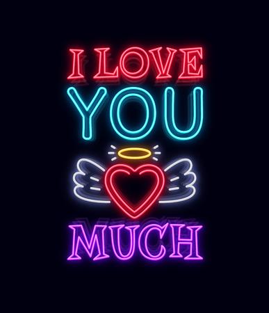 Ik hou zoveel van je. Fashion Slogan voor afdrukken. Neon teken Vector illustratie Stockfoto - 96413649
