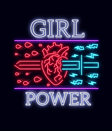 Typographical slogan with a vector for printing on a T-shirt. Neon sign Symbol, illustration on the theme of feminism. Retro style neon typography. Fashion slogan. Vector illustration