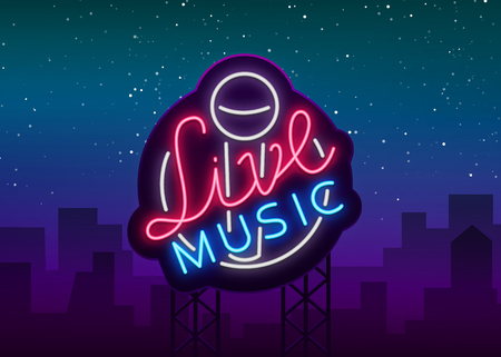 Live musical neon sign, logo, emblem, symbol poster with microphone. illustration. Neon bright sign, Nightlife club advertising, karaoke and other institutions with music.  イラスト・ベクター素材