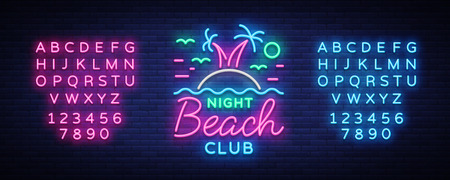 Beach nightclub neon sign. Logo in Neon Style, Symbol, Design Template for Nightclub, Night Party Advertising, Discos, Celebration. Neon banner. Summer. Vector illustration. Editing text neon sign. 向量圖像