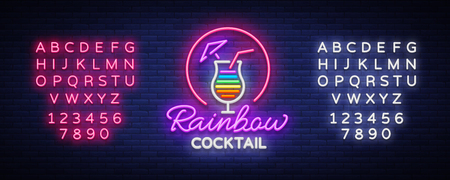 Cocktail logo in neon style. Rainbow Cocktail. Neon sign, Design template for drinks, alcoholic. Light banner, Bright advertising for cocktail bar, party. Vector illustration. Editing text neon sign.