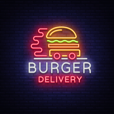 Burger delivery logo in neon style. Neon sign, light banner, design template, night neon advertising food delivery. Vector illustration. Illustration