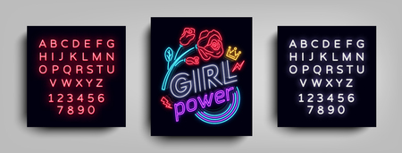 Rock print and slogan vector. Girl Power For T-shirt or other purposes. Symbol of feminism for printing in a neon style. Neon sign Retro style. Womens fashion slogan. Editing text neon sign. Ilustração