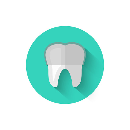 Tooth with braces icon isolated in flat design style vector illustration. Modern, minimalist icon on the theme of stomatology in stylish colors. Website and design for mobile apps and other projects of yours. Ilustração