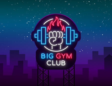 Fitness, gym logo sign in neon style isolated, vector illustration. A glowing banner, a bright neon sign, a night advertisement of a fitness club, a sports hall, a sports club. Billboard.