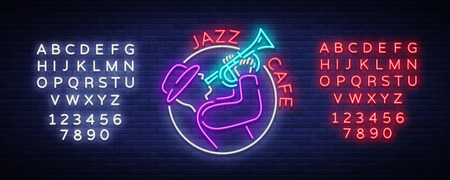 Jazz cafe logo in neon style. Neon sign symbol, emblem, light banner, luminous sign. Bright Neon Advertising for Jazz Club, Cafe, Restaurant, Bar, Party. Vector illustration. Editing text neon sign. Vettoriali