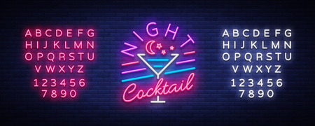 Night Cocktail neon teken. Vector illustratie