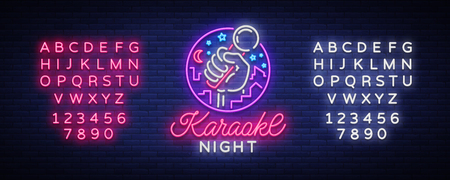 Karaoke night   Neon sign Design template. Vector illustration. Ilustração