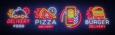 Food delivery set neon signs. Icon collection in neon style, light banner, bright night advertising for delivery food for restaurant, pizzerias, cafes, dining. Burger, Pizza. Vector illustration