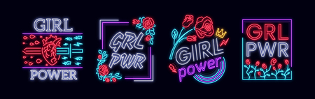 Rock print and slogan vector. Collection Girl T-shirt prints or other purposes. A symbol of feminism for printing in a neon style. Neon sign Retro style. Womens fashion slogan