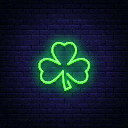 Shamrock is a neon sign. Neon icon, light symbol, web banner for your projects. Vector illustration Ilustração
