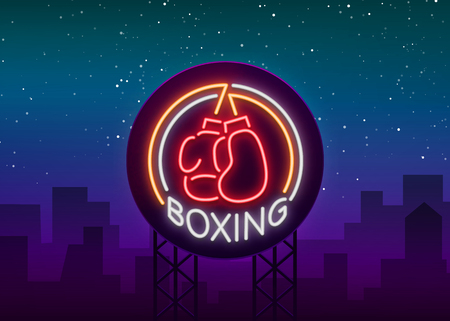 Boxing logo, neon sign emblem is isolated. Vector illustration on sport. The sign is lit, the bright night banner, the neon advertising of the sports boxing club.