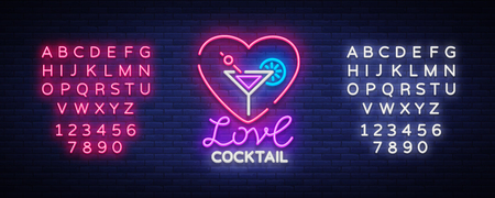 Cocktail icon in neon style. Love Cocktail. Neon sign, Design template for drinks Stok Fotoğraf - 96749895