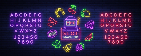 Collection of neon signs for a gaming machine. Game icons for casino.