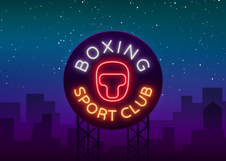 Boxing sports club icon sign in neon style, vector illustration. Emblem, a symbol for a sports facility on a boxing theme. Neon banner, bright nightlife advertisement. Ilustracja