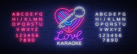Karaoke Love icon  in neon style. Neon sign, bright nightly neon advertising Karaoke. Light banner, bright night billboard. Vector illustration. Editing text neon sign.