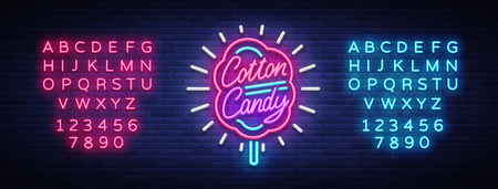 Cotton candy neon sign. Cotton candy logo in neon style symbol banner light, bright cotton candy night advertising, billboard.