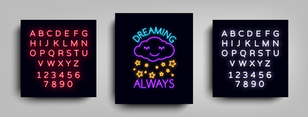 Fashion Slogan for printing. Neon sign, Web poster, banner in neon style. Graphic design for a print on a T-shirt. Design template. Vector illustration. Editing text neon sign.