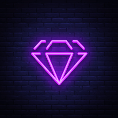 Diamond neon sign. Neon icon, light symbol, web banner for your projects. Vector illustration