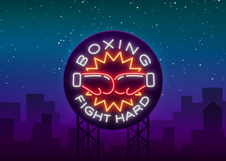 Boxing icon, neon sign emblem is isolated. Vector illustration on sport, boxing. The sign is lit, the bright night banner, the neon advertising of the sports boxing club. Billboard.
