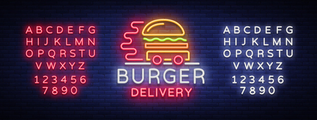 Burger delivery icon in neon style. Neon sign, light banner, design template, night neon advertising food delivery. Vector illustration. Editing text neon sign