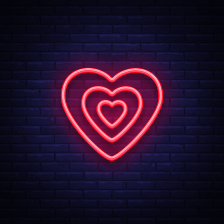 Heart is a neon sign. Neon icon, light symbol, web banner for your projects. Vector illustration. 版權商用圖片 - 96797315