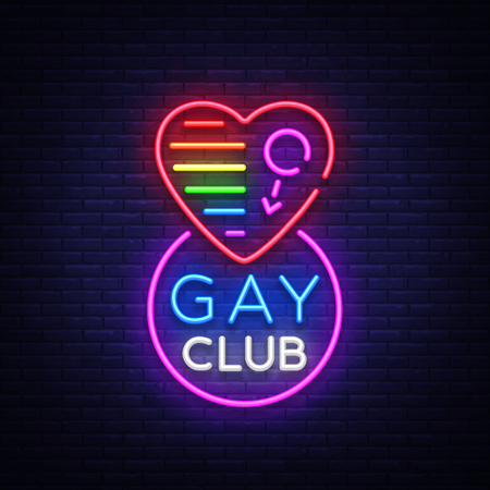 Gay club neon sign. Logo in neon style, light banner, billboard, night bright advertising for gay club, lgbt, party, gay society. Same-sex love. Design template. Vector illustration