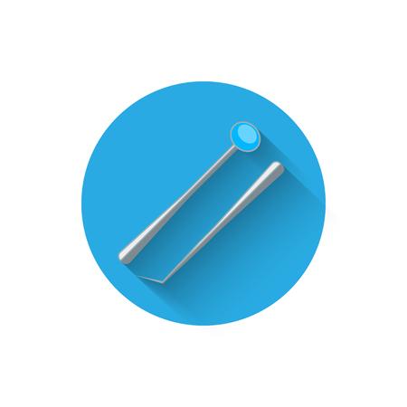 ベクトルイラストのフラットスタイルのデザインで示されている歯科器具アイコン。