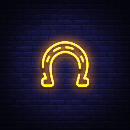 Horseshoe is a neon sign. Neon icon, light symbol, web banner for your projects. Vector illustration.