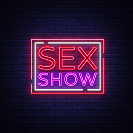 Sex show neon sign. Bright night banner in neon style, neon billboards for advertising sex shows, sex shop, intimate services, adult shows. Vector illustration.  イラスト・ベクター素材