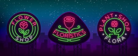 Set of neon logos Flower shop, Plants, Florist, Flora emblem, collection of neon signs.