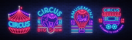 Circus collection of neon signs. Set of logos Vector illustration.