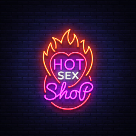 adult shop logo in neon style. Design Pattern, Vector illustration.