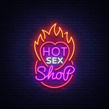 adult shop logo in neon style. Design Pattern, Vector illustration.