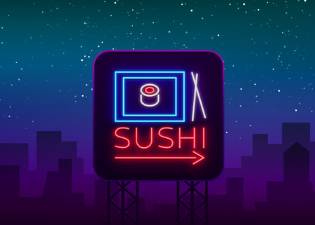 Sushi logo in neon style. Bright neon sign with text is isolated. Seafood, Japanese food. Bright billboard billboard, restaurant advertising bar of Japanese food sushi.