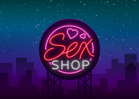 Sex shop logo, emblem in neon style. Neon effect, grocery store, intimate items. Vector illustration. Bright night banner, luminous sign, night sex advertising shop