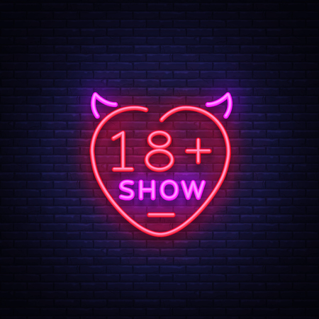 Sex show neon sign. Bright night banner in neon style, neon billboards for advertising sex shows, sex shop, intimate services, adult shows. Vector illustration. Vettoriali
