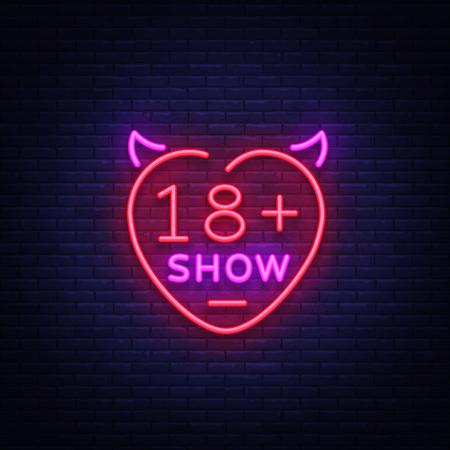 Muestra de sexo de neón. Banner de noche brillante en estilo neón, vallas publicitarias de neón para espectáculos sexuales publicitarios, sex shop, servicios íntimos, espectáculos para adultos. Ilustración vectorial