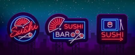 A collection of bright luminous signs, advertising a restaurant bar of Japanese food sushi Vector illustration