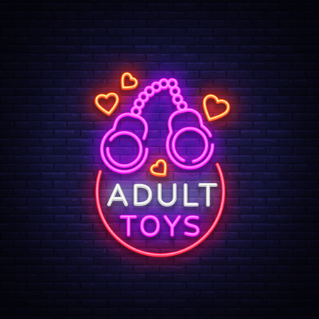 Adult toys logo in neon style. Design template, adult shop neon signs, light banner on the theme of the adult toys industry, vivid neon ad for your projects. Vector illustration.