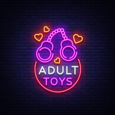 Erwachsenen Spielzeug Logo im Neonstil. Entwurfsvorlage, Erwachsenen-Shop-Leuchtreklamen, helles Banner zum Thema Spielwaren für Erwachsene, lebendige Neon-Anzeige für Ihre Projekte. Vektor-illustration