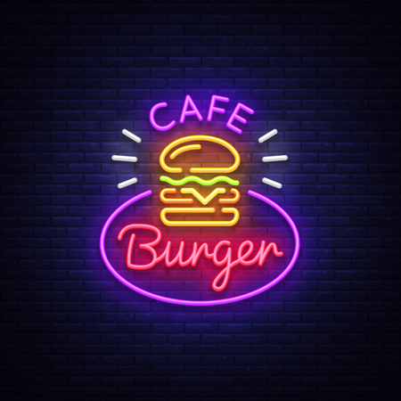 Burger cafe neon sign. Fastfood burger sandwich neon style logo, bright banner, design template, night neon advertising for dining, cafe, restaurant, snack bar, street food. Vector Illustrations.  イラスト・ベクター素材