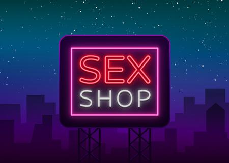 Sex shop logo, night sign in neon style. Vector Illustration. 向量圖像