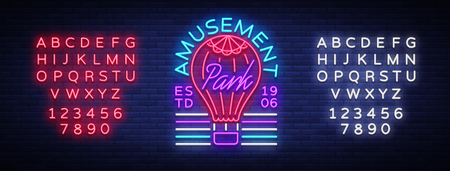 Amusement Park logo in neon style. Design template with a balloon. Neon sign, light banner, design element, bright night advertising for your projects. Vector illustration. Editing text neon sign.