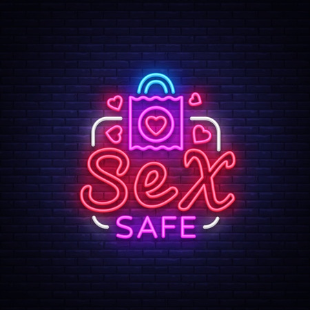 Safe Sex design template. Safe sex condom concept for adults in neon style. Neon Sign, Element Design, Digital Projects. Intimate store. Bright nightly advertising. Vector illustration.