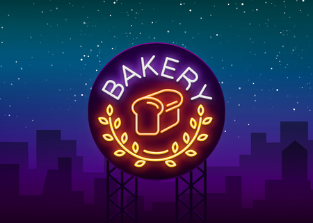 Bakery logo is a neon sign. Vector illustration on the topic of fresh pastries. Ilustrace