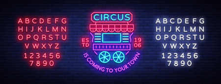 Circus truck icon in neon style. Design template with trailers. Illustration