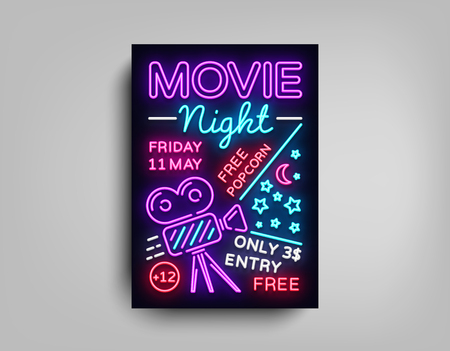 Movie Night poster design template in neon style.  Vector Illustrations Ilustracja