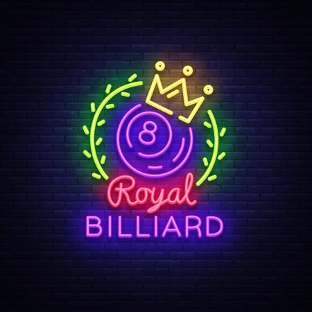 Billiards neon sign. Royal Billiards logo in neon style, light banner, design template emblem night billiard, bright nightlife advertisement, design element for your projects. Vector illustration. Vettoriali